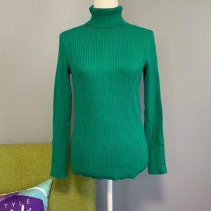 Talbots Green Turtleneck Sweater Petite